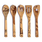 5pcs Xmas Halloween Bamboo Spoons Gift Utensil Burned Kitchen Party Cookling Set