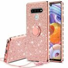 For LG Stylo 6 Cute Girls Glitter Phone Case with Ring Kickstand