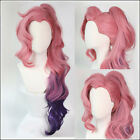 Styled KDA Seraphine Cosplay Hair Wig Curly Ponytail Gradient Girl Group Sa