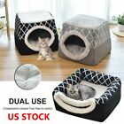 US Soft Warm Pet Cat Dog Nest Bed Puppy Cave House Closed Cat Room Sleeping Mat