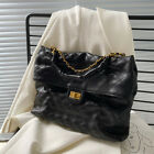 Quilted Ruched Real Leather Chain Shoulder Bag Purse Fold Over Flap Envelope