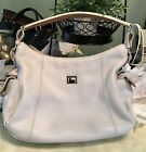 Dooney Bourke Portofino Pebbled Leather Side Pocket Hobo Shoulder Handbag White