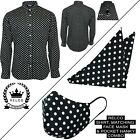 Relco Mens Polka Dot Long Sleeved Shirt With Matching Mask & Pocket Hanky Mod