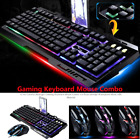 Rainbow Gaming Keyboard and Mouse Set G700 Backlight Ergonomic Usb for PC Laptop