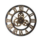 3D Gear Wooden Wall Clock Industrial Retro style Roman Numerals Silent Sweep