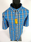 Mens Blue Plaid Shirt Short Sleeve Gioberti Button Collar Pocket 891
