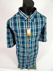 Mens Blue Turquoise Plaid Shirt Short Sleeve Gioberti Button Collar Pocket 909