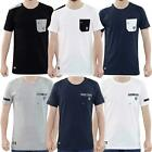Mens Crew Neck T Shirt Contrasted Chest Pocket Cotton Short Sleeve Casual Tops