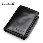 Men Cowhide Genuine Leather Trifold Wallet Credit Card ID Holder Zipper Purse