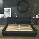 King/ Queen/ Full Size Bed Frame, PU-Leather Headboard Platform with Wood Slats