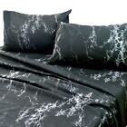 Essina Microfiber Twin/Queen/King Bedsheet Set Soft and Lightweight Marble Black
