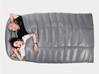 Shiny gloss wet-look nylon large down double sleeping bag duvet quilt 3 seasons