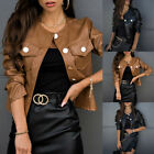 'Womens Pu Leather Biker Jacket Ladies Slim Fit Long Sleeve Blazer Jackets Coat
