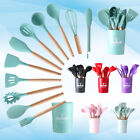 12PCS Kitchen Utensil Set - Silicone Cooking Utensils Wooden Handle With Bucket