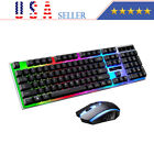 Gaming Keyboard And Mouse Set Multi-color Changing Backlight Mouse Mice Usa New