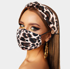 Women Headband + Mask Outdoor Hairband Matching Headband and Mask with Buttons