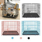 Dog Crate Kennel Folding Pet Cage Metal 2Door With Tray and Handle for S M L
