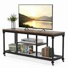 Industrial Style 3 Tier TV Stand Pipe Frame TV Console Media Stand with Wheels