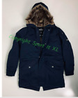 Guys Hollister Faux-Fur-Lined Military Parka Navy Blue New!!!