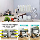 Over Sink Dish Drying Rack 2/3Tier Stainless Steel Cutlery Drainer Kitchen Shelf