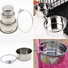 Pet Bowl Crate Cage Hang-on Stainless Steel Cat Dog S/M/L Food Water Feed Bowl