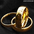 Tungsten Carbide Gold Polish Dome Wedding Band Ring ATOP Men's Jewelry