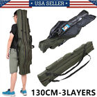 Outdoor Fishing Rod Storage Bag Canvas Portable Folding Pole Carrier Case C9O5