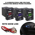 Dual USB Port Car Charger Socket Charging Power Adapter Outlet Socket for Toyota
