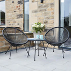 Conservatory Bistro Set Retro 2 Chair Small Garden Furniture Glass Coffee Table