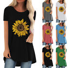 Womens Sunflower Floral Short Sleeve T-Shirt Summer Holiday Tunic Blouse Tops