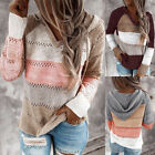 Womens Casual Patchwork V-Neck Blouse Lady Long Sleeves Hooded Sweater Blouses