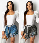 Women's High Rise Slight stretch Jean Shorts Fringed Set auger Lady Shorts
