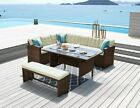 9 Or 7 Seater Rattan Garden Furniture Dining Set With Bench, Corner Sofa & Table