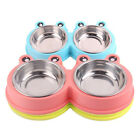 Stainless Steel Pets Cat Food Double Bowl Elevated Stand Feeder Nonslip