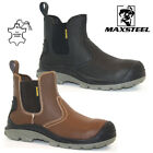 MENS WATERPROOF LEATHER BOOTS CHELSEA SAFETY DEALER STEEL TOE CAP WORK SHOES