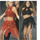 Salsa Tango Belly Dance Dress Costume Halloween Red Black Shimmy Ballet Adult