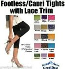 LADIES FOOTLESS TIGHT/CAPRI LEGGINGS With Lace Trim Angelina One Size