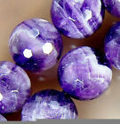 12mm Natural Faceted Purple Amethyst Round Beads 15""