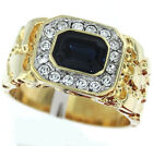 Mens Simulated Sapphire Blue 18kt Gold Plated Tutone Ring New