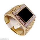Mens Genuine Onyx Pave 18kt Gold Plated Ring New