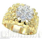 Seven Simulated Diamond Crown 18kt Gold EP Mens Ring