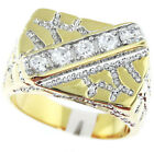 Five Clear 0.1ct CZ Stones Two Tone Gold EP Mens Nugget Ring