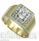 Mens 1.85ct Round Shape Stones Two Tone 18kt Gold EP Square Top Ring