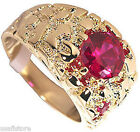 4.6ct Round Ruby Red Stone 18kt Gold EP Mens Nugget Ring