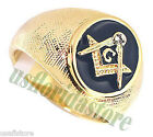 Mens Masonic Mason Oval Blue 18kt Gold Plated Ring