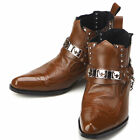 New Mens Fashion Ankle Steel Brown Boots Shoes