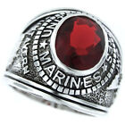 Siam Red US Marines Military Rhodium EP Mens Ring