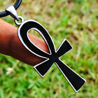 Black/White Ankh Cross of life Pagan Pewter Pendant