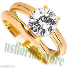 3.35ct Clear Stone Wedding Band Gold Plated Ring Set