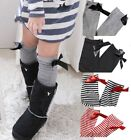 Set 2 Girl Knee High Bow Socks BLK Grey Stripes 16-22cm